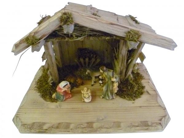 """Weihnachtskrippe / Stall """"Grainau"""", aus Holz handgefertigt in Deutschland, dekoriert mit getrocktnetem Waldmoos und Holz, inkl. Figurenset, in 3 Größen erhältlich"""