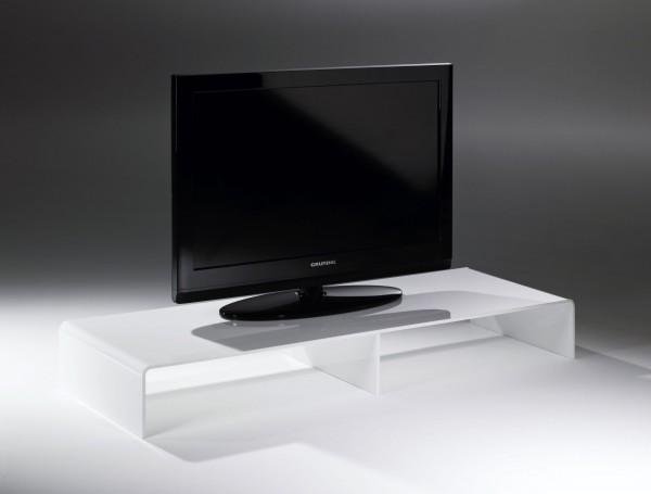Hochwertiger Acryl-Glas TV-Tisch, TV-Rack, weiß, 80 x 40 cm, H 15 cm, Acryl-Glas-Stärke 8 mm