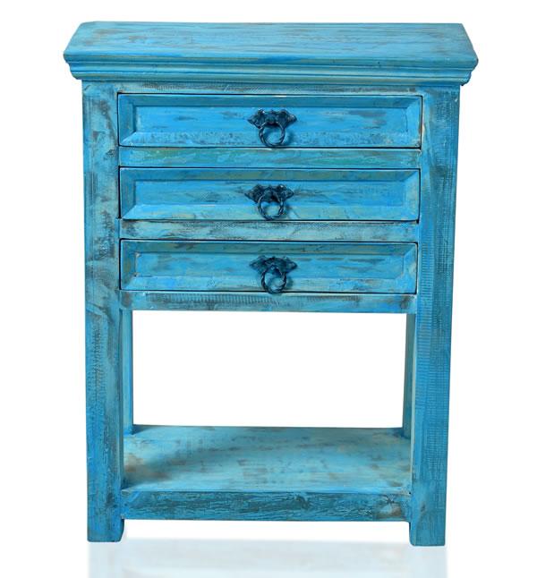 """Telefontisch / Beistelltisch, """"Washed Look"""", Altholz, blau, B60 x T32 x H79 cm"""
