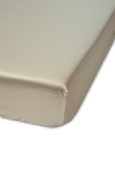 Spannbetttuch, cremefarben, elegantes Luxus-Seiden-Spannbetttuch, hochwertig genäht und verarbeitet aus mittelschwerem Seidengewebe