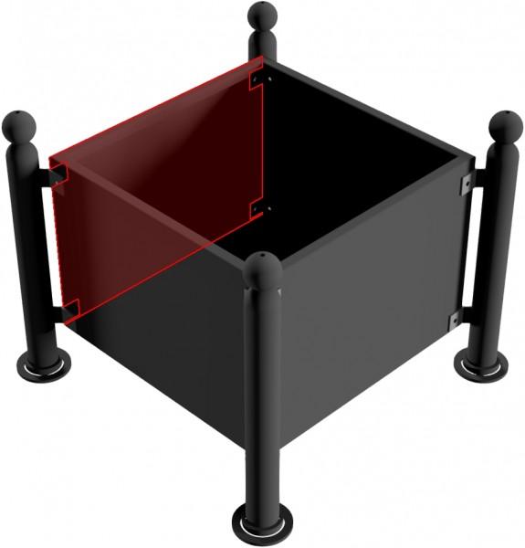 Pflanzbehälter mit seitlichen Stahlblechen und Bodenblech, feuerverzinkt und dunkelgrau beschichtet, 880 x 880 x 500 mm