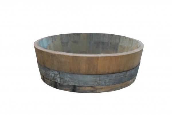 Eichen-Weinfass als Pflanzkübel, gebraucht mit fixierten Metallringen