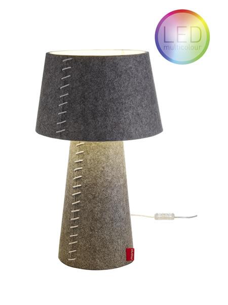 """Moree LED Tischlampe / Schreibtischlampe """"Alice"""", aus Filz (PE), Lampenschirm schwenkbar, Ø 30 cm x H 50 cm, Multicolor LED-Leuchtmittel, für den Innenbereich, mit Fernbedienung"""