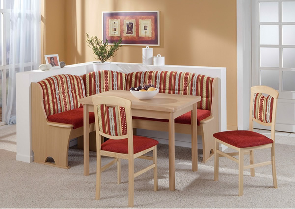 Truhen-Eckbankgruppe Buche Natur Dekor; Eckbank, 2 Stühle und Vierfußtisch, Bezug: Kombi rot, variabel aufbaubar