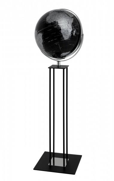 Moderner Standglobus / Weltkugel mit Reliefkarte, aus Metall, verchromt, Kunststoff und Holz, Ø42,5 x H135 cm