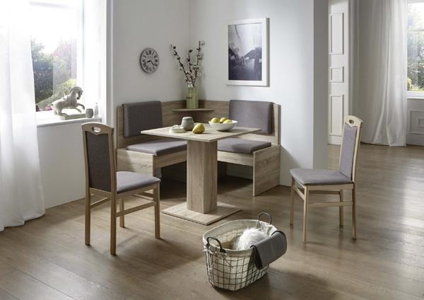 Eckbankgruppe Eiche/Buche Sonoma Dekor; Eckbank, 2 Stühle und Säulentisch, Bezug: grau-braun