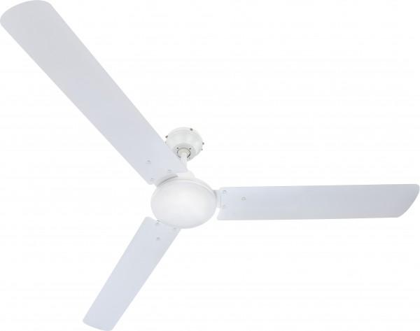 Deckenventilator / Lüfter, Metall weiß, Blätter aus Metall, weiß, Ø 142 cm, Höhe 34 cm
