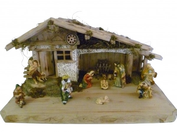 """Weihnachtskrippe / Stall """"Tirol"""", aus Holz handgefertigt in Deutschland, dekoriert mit getrocktnetem Waldmoos und Holz, inkl. Figurenset, in 3 Größen erhältlich"""