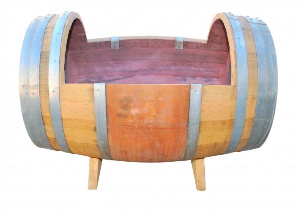 Eichen-Weinfass als Pflanzkübel, liegend auf Standfüßen, gebraucht mit fixierten Metallringen, ca. Ø 90 x 70 cm