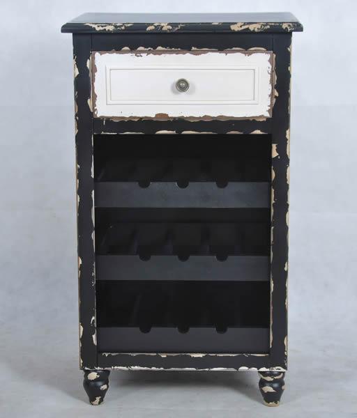 """Weinregal """"Mosel"""", Vintage-/Used-Look, MDF und Massivholz, 1 Schublade weiß, Korpus schwarz, mit 4 Einlegeböden, B46 x H78 x T35,5 cm"""