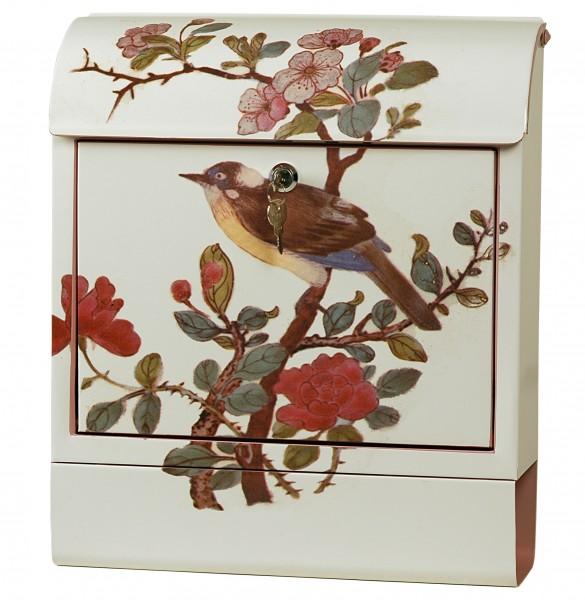 """Exklusiver Design-Briefkasten mit Zeitungsrolle, Stahlblech mit Motiv """"Vogel"""", Handarbeit, B38 x H45 x T12 cm, inkl. Bewegungsmelder, Lieferung im Geschenkkarton"""