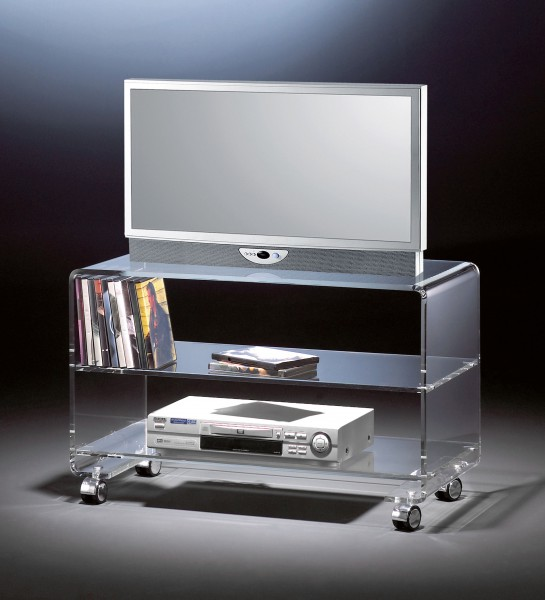 Hochwertiger Acryl-Glas TV-Wagen / TV-Tisch mit 4 Chromrollen, klar, 80 x 40 cm, H 50 cm, Acryl-Glas-Stärke 10 mm