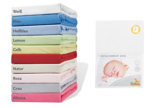 Pinolino Spannbetttücher für Kinderbetten 2 Stück, aus 100% Baumwolle, passend für Matratzen von L 120 x B 60 cm bis L 140 x B 70 cm