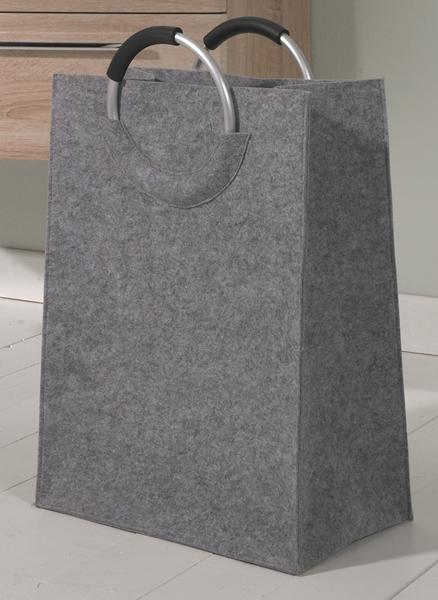 Designer Wäschetasche / Wäschesack aus Filz mit 2 Griffen, grau, B 40 x T 24 x H 60 cm