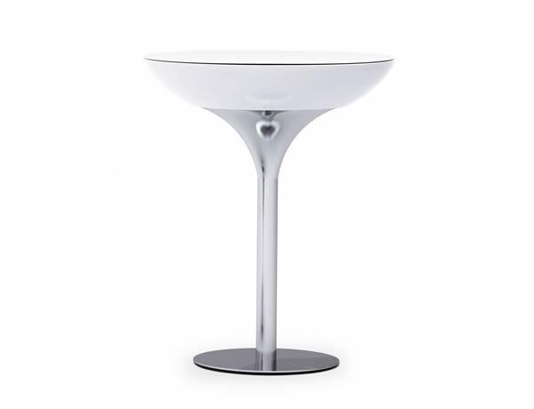 Moree Lounge Stehtisch beleuchtet, Ø 84 cm, H 105 cm, ABS glänzend, weiß transluzent, Aluminium gebürstet, eloxiert, mit E27 (230 V) Energiesparlampe, für Außen