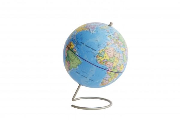 Moderner Globus / Weltkugel / Magnet, hellblau, aus Edelstahl und Kunststoff, Ø23 cm x H29 cm