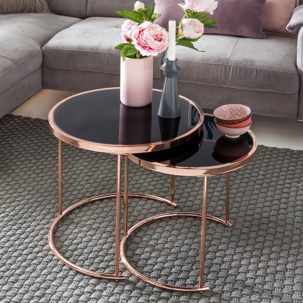 Moderner Beistelltisch / Wohnzimmertisch, 2er-Set, kupferfarben und schwarz, aus Metall und Sicherheitsglas