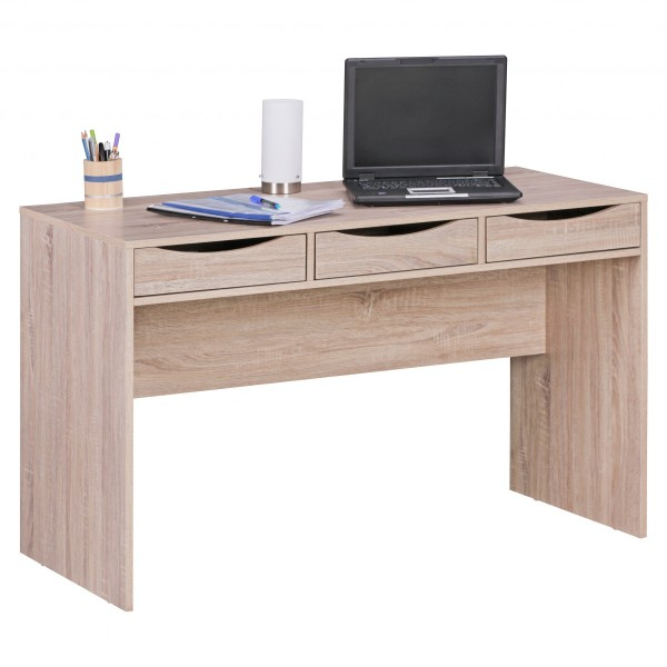 Stilvoller Schreibtisch / Bürotisch für Jugendliche, Sonoma Eiche, mit drei Schubladen
