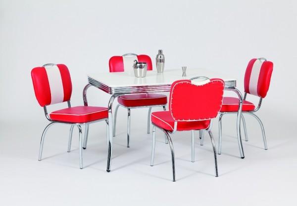 """Tischgruppe """"San Francisco"""", American Diner Style; Bistrotisch und 4 Bistrostühle; Tischplatte polarweiß"""