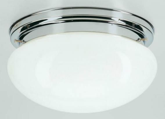 Deckenleuchte / Plafonnier, Messing verchromt, Glas weiß glänzend, Höhe 15 cm, Breite 30 cm, 230 V, 1 x E27 60 W