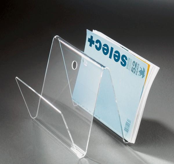 Hochwertige Acryl-Glas Zeitungstasche, Zeitungsständer, klar, 30 x 30 cm, H 26 cm, Acryl-Glas-Stärke 4 mm