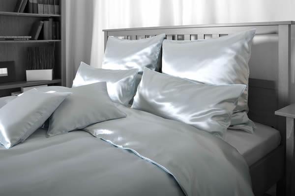 Seiden-Bettwäsche, grau, elegeanter Luxus-Seiden-Bettbezug, hochwertig genäht und haltbar verarbeitet aus mittelschwerem Seidengewebe