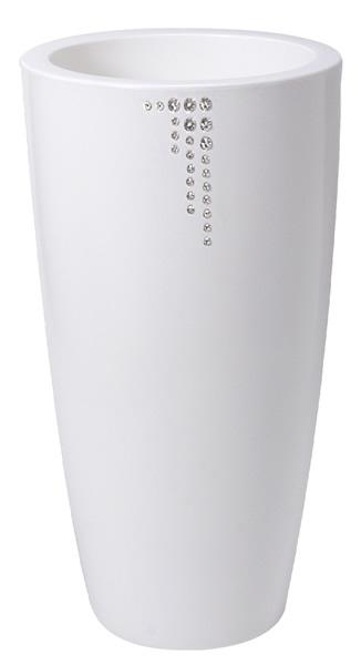 """Blumentopf / Pflanztopf Nicoli """"Talos"""" mit original Swarovski Kristallen, Motiv Symbol, Ø 33 cm, Höhe 70 cm, matt, 15 l Inhalt, für Innen und Außen, aus hochwertigem Polyethylen, weiß oder anthrazit"""