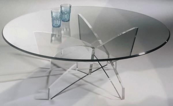 Hochwertiger Designer Couchtisch mit Glasplatte, Glasplatte mit Steilfacette geschliffen 12 mm, Ø 110 cm, H 40 cm, Tischgestell aus 20 mm Acrylglas