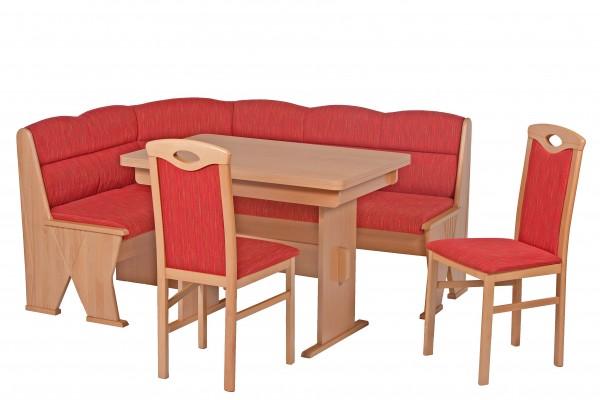 Truhen-Eckbankgruppe, Buche Natur Dekor; Eckbank, 2 Stühle und Tisch mit Auszügen und massiven Außenwangen und Rundecken; Bezug: Jaquard gemustert; variabel aufbaubar