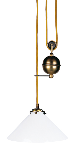 Pendelleuchte, Landhaus Stil, Messing antik-handpatiniert (Altmessing), Glas Ø 25 cm, 230 V, E27 60 W