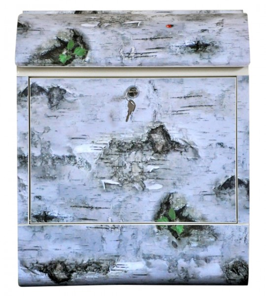 """Exklusiver Design-Briefkasten mit Zeitungsrolle, Stahlblech mit Motiv """"Birke"""", Handarbeit, B38 x H45 x T12 cm, inkl. Bewegungsmelder, Lieferung im Geschenkkarton"""