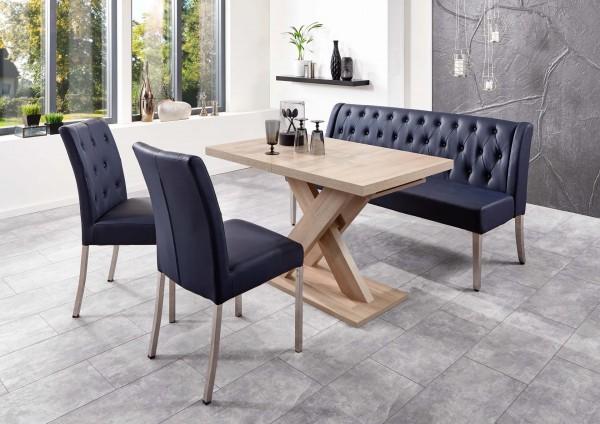 Moderne Bankgruppe / Essgruppe Toulouse, 1 Bank, 2 Stühle, 1 Wangentisch, mit Komfortfederung, 3 verschiedene Tisch-Ausführungen wählbar