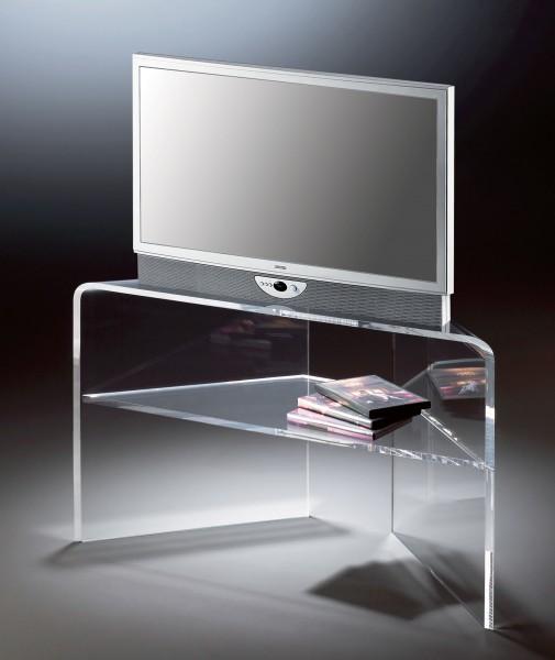Hochwertiger Acryl-Glas TV-Eck-Tisch, TV-Eck-Rack, klar, 20 / 90 x 35 cm, H 50 cm, Acryl-Glas-Stärke 12 mm
