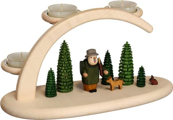 """Leuchterbogen / Kerzenhalter """"Wald"""", aus Holz, natur/grün, Breite 25 cm"""