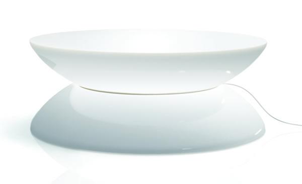 Moree Lounge Tisch / Beistelltisch, beleuchtet, Ø 84 cm, H 33 cm, mit Glasplatte, ABS glänzend, weiß transzulent, mit E27 (220-240 V) Standard-Leuchtmittel, Inkl. Dimmer, für Innen