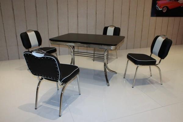"""Tischgruppe """"Denver"""", American Diner Style; Bistrotisch und 4 Bistrostühle; Bezug: schwarz/weiß; Tischplatte schwarz"""