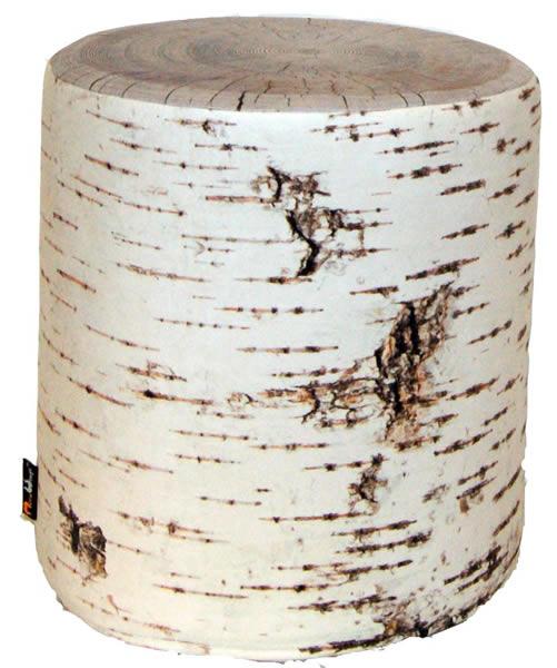 MeroWings Tree Seat Sitzkissen, Ø 40 cm, Höhe 45 cm, mit originalgetreuem Fotodruck Birke, für den Außen- und Innenbereich