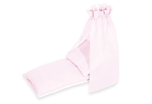 Pinolino Puppenbettzeug für Puppenbettchen 3-tlg., rosa, aus 100% Baumwolle, Matratzenmaß ca. L 53 x B 25 cm