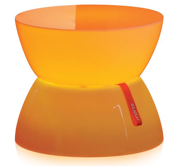 Moree Lounge Beistelltisch, Mini, LED beleuchtet, Ø 39 cm, H 33 cm, mit Glasplatte, ABS glänzend, weiß transzulent, mit Vielfarben-LED, Inkl. IR-Fernbedienung, für Innen