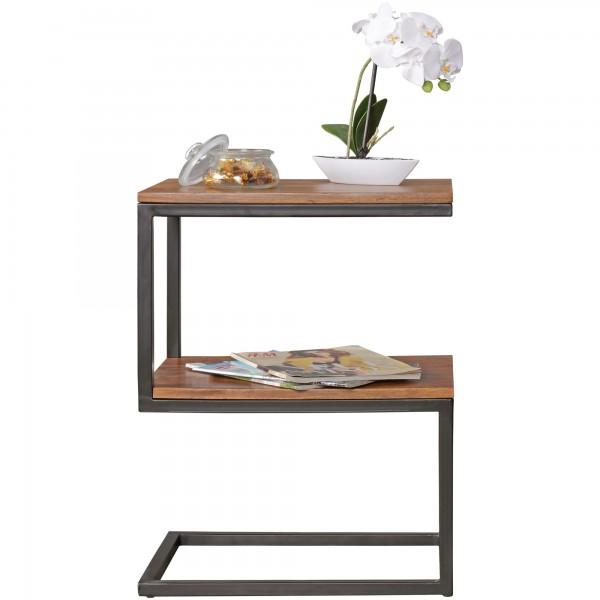 Beistelltisch S-Form, Massiv-Holz Sheesham/Metall, Design Wohnzimmertisch Landhaus-Stil, Anstelltisch Ablagetisch eckig