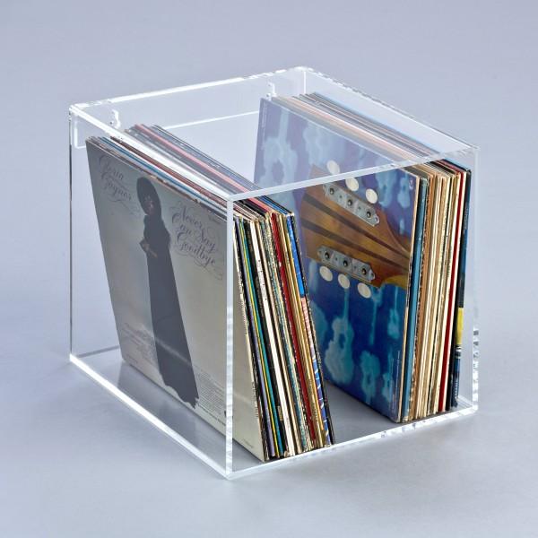 Hochwertiges Acryl-Glas Wandregal / Standregal für LP Schallplatten / Vinylplatten, transparent, B35 x T35 cm, H 35 cm, Acryl-Glas-Stärke 8 mm