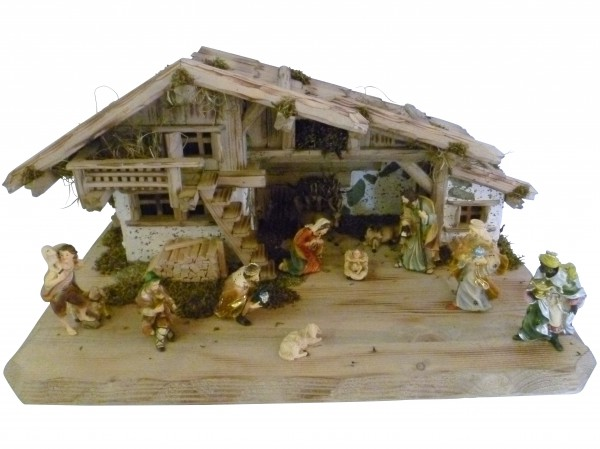 """Weihnachtskrippe / Stall """"Mittenwald"""", aus Holz handgefertigt in Deutschland, dekoriert mit getrocktnetem Waldmoos und Holz, inkl. Figurenset, in 3 Größen erhältlich"""