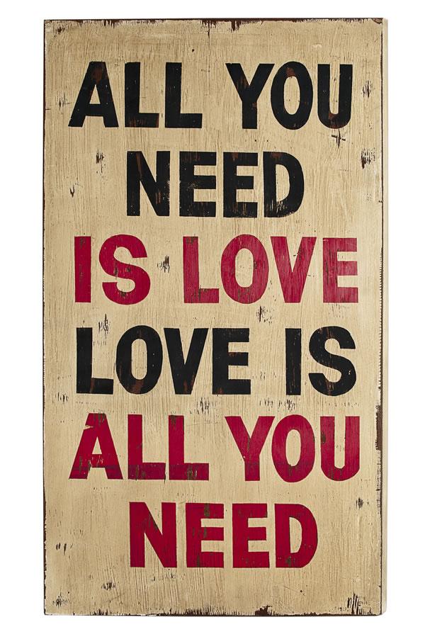 "Wand-/Dekoschild / Wall Art ""All you need…"", aus MDF, im Vintage-Look, B50 x H90 x T4 cm"