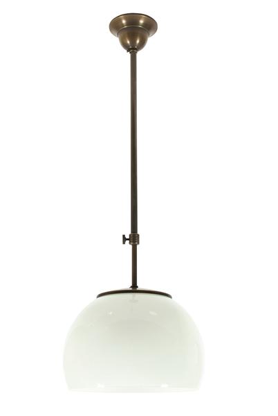 Deckenleuchte / Hängelampe, Messing antik-handpatiniert (Altmessing), Höhe 100 cm bis 170 cm einstellbar, 230 V, E27 60 W