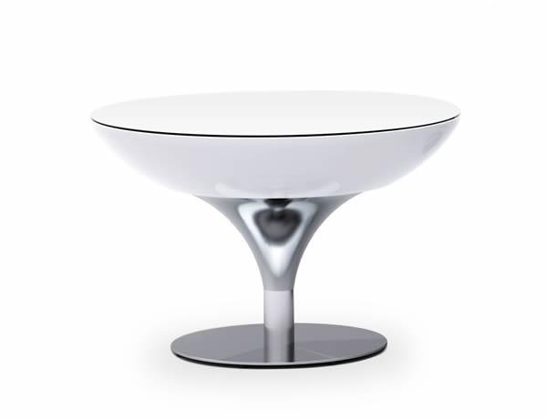 Moree Lounge Tisch / Beistelltisch, inkl. Glasplatte, Pro Akk, LED beleuchtet, Ø 84 cm, H 55 cm, ABS glänzend, weiß transluzent, Aluminium gebürstet, eloxiert, mit Vielfarben LED, mit Fernbedienung und Akku, für Innen