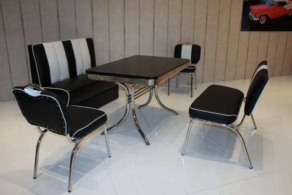 """Bankgruppe """"Orlando"""", American Diner Style; Doppelsäulen Bistrotisch, 2 Bistrostühle, 1 Bistropolsterbank und 1 Bistrobank; Bezug: schwarz/weiß; Tischplatte schwarz"""