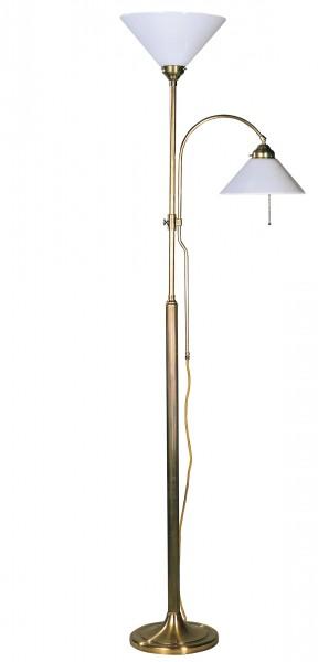 Stehleuchte / Standleuchte mit 2 Leuchten, Landhaus Stil, Messing antik-handpatiniert (Altmessing), Höhe 169 cm, 230 V, 2 x E27 60 W