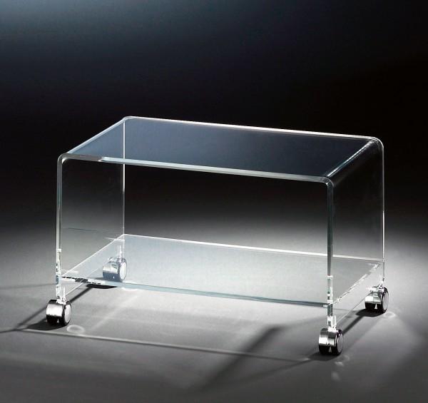 Hochwertiger Acryl-Glas TV-Wagen / TV-Tisch mit 4 Chromrollen, klar, 63 x 38 cm, H 38 cm, Acryl-Glas-Stärke 10 / 12 mm