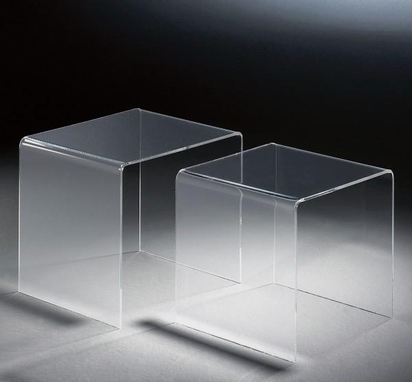Hochwertiger Acryl-Glas Zweisatztisch, 40 x 33 cm, H 36 cm und 33 x 33 cm, H 33 cm, Acryl-Glas-Stärke 6 mm