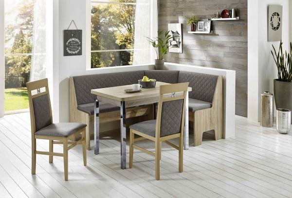 Truhen-Eckbankgruppe Eiche Sonoma Sägerau Dekor; Eckbank, 2 Stühle und Tisch, Rückenpolsterung mit Steppung, Flachgewebe silber-grau, variabel aufbaubar